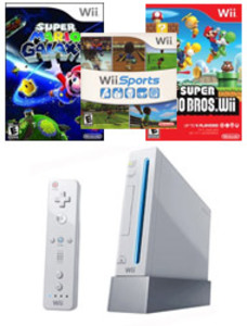 Nintendo Wii Console + Super Mario Galaxy + Wii Sports (Pre-owned)