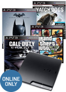 PlayStation 3 320GB + Grand Theft Auto V + Call of Duty Ghosts +  Batman Arkham Origins + Watch Dogs (Pre-owned)