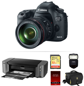 Canon EOS 5D Mark III DSLR Camera with Canon 24-105mm Lens + 430EX III-RT Flash + PRO-10 Printer + 32GB Memory Card + Camera Bag