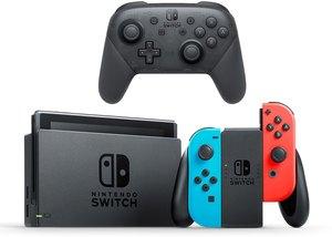 Nintendo Switch (Neon Joy-Con) + Pro Controller + Samsung 128GB MicroSD Card