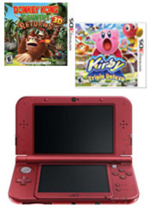 New Nintendo 3DS XL Red (Refurbished) + Donkey Kong Country Returns 3D + Kirby Triple Deluxe