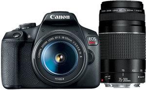 Canon EOS Rebel T7i DSLR Camera with 18-55mm & 75-300mm Lenses (Refurbished)