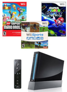 Nintendo Wii Console with Motion Plus Remote (Refurbished) + 3 Games